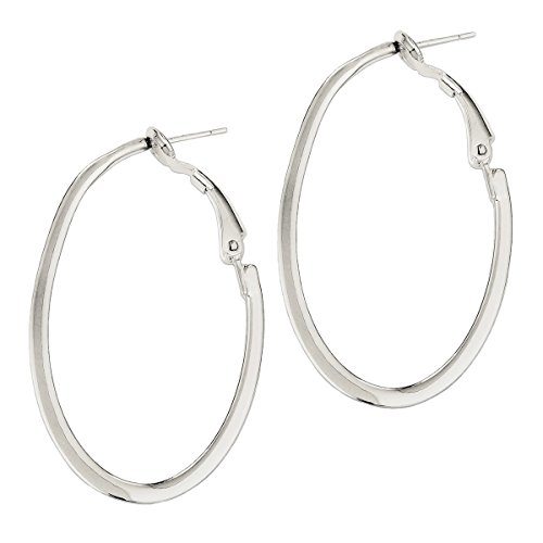 - Designs by Nathan Polished 925 Silver Slim Oval Omega Back Hoop Earrings, 28mm x 40mm (about 1 1/2