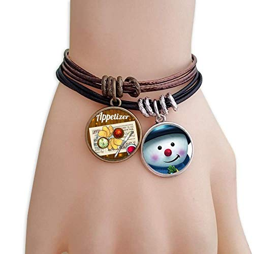 Slice of Bread Wine Snowman Leather Rope Bracelet Handmade ()
