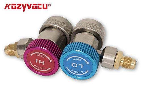 Kozyvacu Adjustable R134A Adapter Fittings Quick Coupler High Low AC Freon Manifold Gauge Hose Conversion kit, 1/4'' SAE HVAC by Kozyvacu (Image #2)