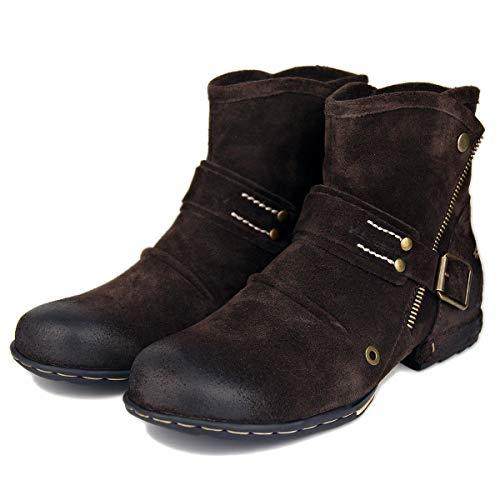 da da da Suetar Suetar Suetar Suetar Casual Chukka Scarpe con Zipper Men Leather for up Suede Boots Moda Autunno Stivaletti Vera in e Pelle Inverno Uomo Brown Westen Tacco aFqAar