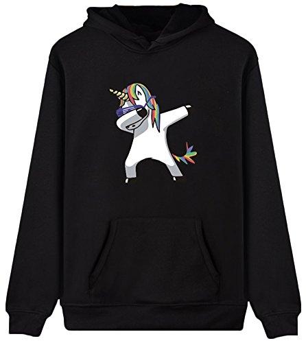 Ragazze Unicorn EmilyLe sunglasses Donne per Rainbow Print Mythical Black Hoodies Felpa Manica Lunga Felpa CCHPq