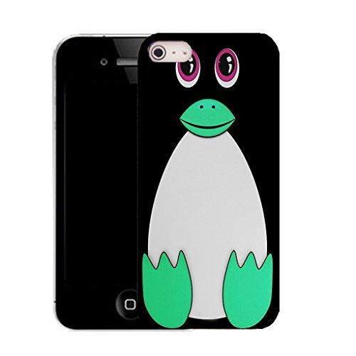Mobile Case Mate IPhone 4s clip on Silicone Coque couverture case cover Pare-chocs + STYLET - green pingu pattern (SILICON)