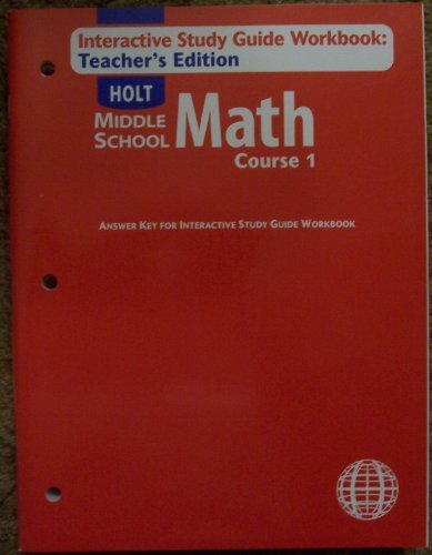 Download Interactive Study Guide Workbook: Teacher Edition (Holt Middle School Math Course 1) pdf epub