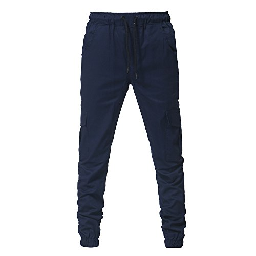 baskuwish Pants,Fashion Men's Sport Pure Color Bandage Casual Loose Sweatpants Drawstring Pant (M, Navy)