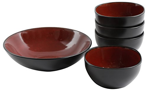 Gibson Elite 118535.05R Soho Lounge 5 Piece Bowl Set, Red (Red Bowls)