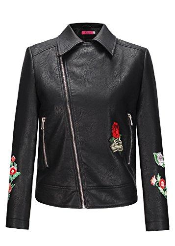 Manteau florale pour Veste PU cuir femmes en Manteau Broderie Oavzx