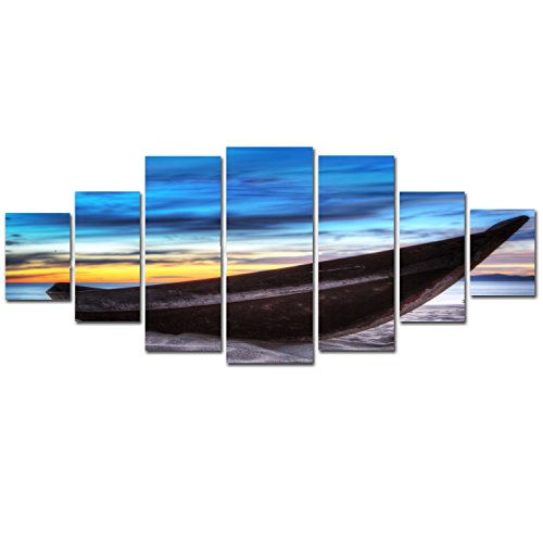 Startonight Huge Canvas Wall Art Long Boat on the Beach, Nature Landscapes Winter USA Large Home Decor, Dual View Surprise Artwork Modern Framed Wall Art Set of 7 Panels Total39.37 x 94.49 inch by Startonight