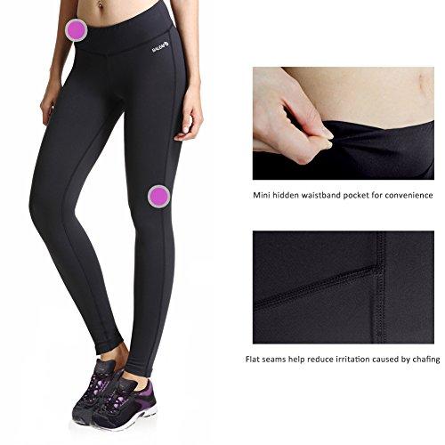 Baleaf Women's Ankle Legging Inner Pocket Non See-Through Black Size S by Baleaf (Image #4)