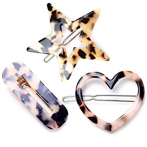 3 Pack Acrylic Tortoise Shell Resin Hair Clips Retro Classic Brown Heart Star Barrettes Hair Pins for Women Girls