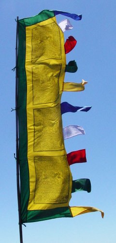(6 Foot Tall Vertical Prayer Flags - Victory Banner Sutra ~ from Radiant Heart Studios)