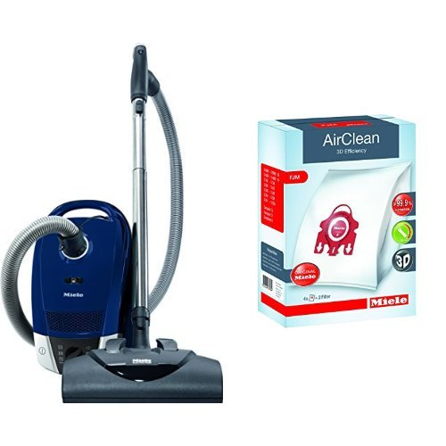 C2 Canister (Miele Compact C2 Electro+ Canister Vacuum,Marine Blue & Miele AirClean 3D Efficiency Dust Bag, Type FJM, 4 Bags & 2 Filters)