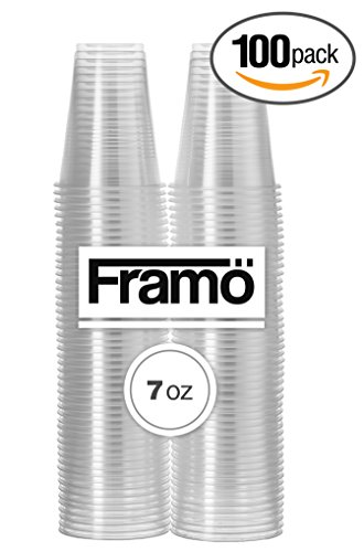 7Oz Clear Plastic Cups by Framo, For Any Occasion, BPA-Free Disposable Transparent Ice Tea, Juice, Soda, and Coffee Glasses for Party, Picnic, BBQ, Travel, and Events, (100, Clear)