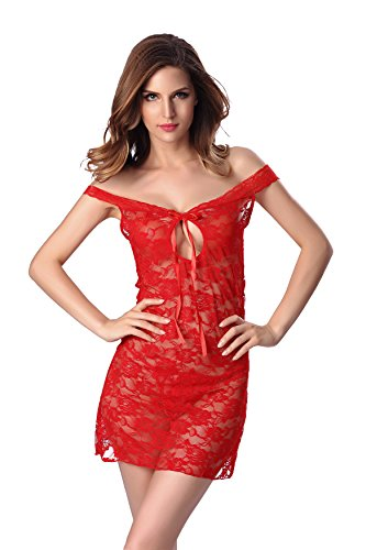Century Star Lace Chiffon Off Shoulder Halter Embroidered Lingerie Red M