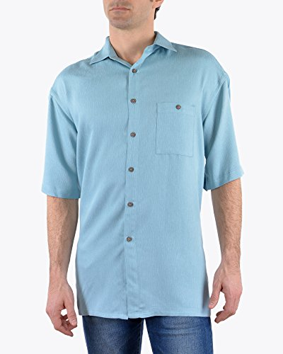 (Campia Mens Textured Solid Crepe Weave Short Sleeve Blue Shirt (Light Teal, S))