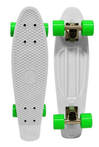 PARADISE Plastic Cruiser Skateboard, Clear/Green, 6 x 22-Inch
