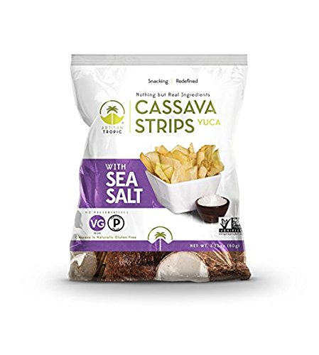 Artisan Tropic Cassava Strips with Sea Salt - Your Tasty and Healthy Snack Alternative - Paleo, Gluten Free, Vegan, Non-GMO - Made With Sustainable Palm Oil 1.75 Oz (16 Pack)
