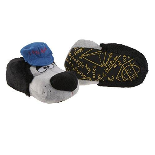 SAMs Rocker Hund mit Cap Tier Hausschuhe Pantoffel Schlappen Kuscheltier Plüsch Herren Schwarz 41-46, TH-RHC-SB Schwarz Grau