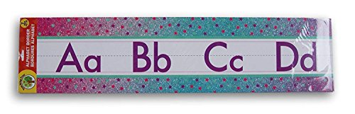 Teaching Tree Pre School Elementary Classroom Decor Scholastic Teacher Alphabet Wall Border - 7 Piece (Stars) w/Bonus 30 Pack Word Strips -