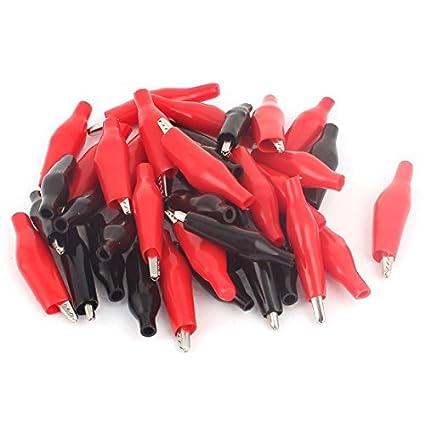 Tamaño eDealMax de 40 piezas de rojo y Negro Medio clips aislada para el tubo de