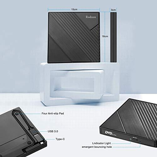 Rodzon External CD Drive Type C USB 3.0 Portable CD DVD +/-RW Drive Slim DVD/CD ROM Rewriter Burner Writer Compatible with Laptop Desktop PC Windows Linux OS Apple Mac, Type C