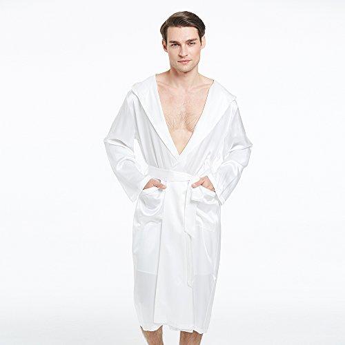 1138522eab LilySilk Silk Robes For Men Hooded Long Kimono Style Pure Royal Luxury 22  Momme Sexy Bathrobe Loungewear Lightweight