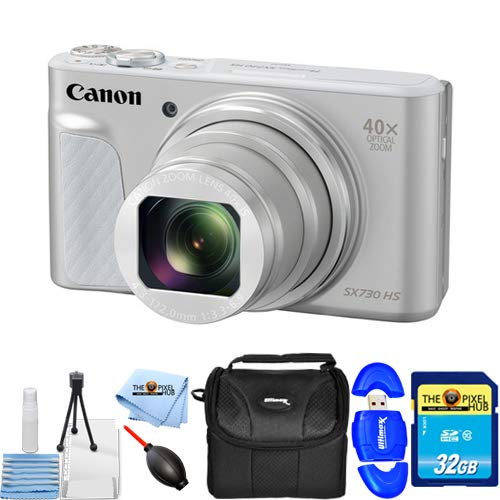 Canon PowerShot SX730 HS Digital Camera (Silver) 1792C001 32GB Starter Bundle with 32GB SD, Memory Card Reader, Gadget Bag, Blower, Microfiber Cloth and Cleaning -