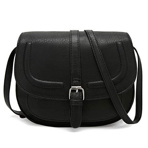 Forestfish Women's Crossbody Bags Saddle Purse Satchel Bag Tote Shoulder Handbags, Black