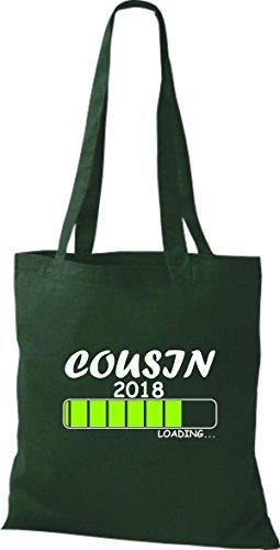 shirtinstyle Tela Bolsa Algodón Cousin 2018 Carga parto Regalo - fucsia, 38 cm x 42 cm Verde