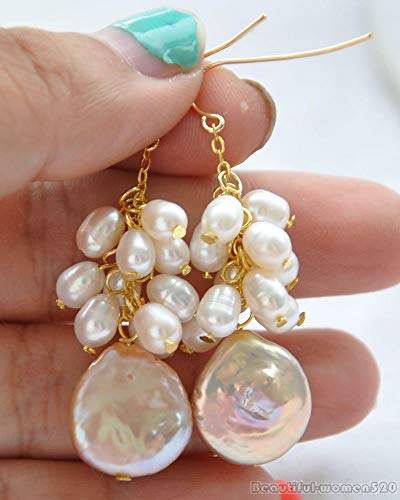 FidgetGear z6100 14MM Pink Coin Rice Freshwater Pearl Dangle Earring 14K