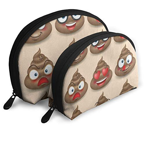 Makeup Bag Happy Poop Emoji Face Portable Shell Toiletry Organizer For Girls Party Pack - -