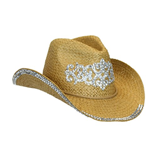 Rhinestone Tiara Straw Cowboy Hat, Cotton Chin Strap & Shapeable Brim, Drk Natural, One Size