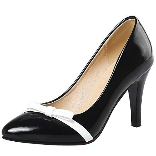 Aiguille Kikiva Noeud Cuir Verni Escarpin Noir Talon Chaussures Femme Haut Bout Pointu wIUqZO