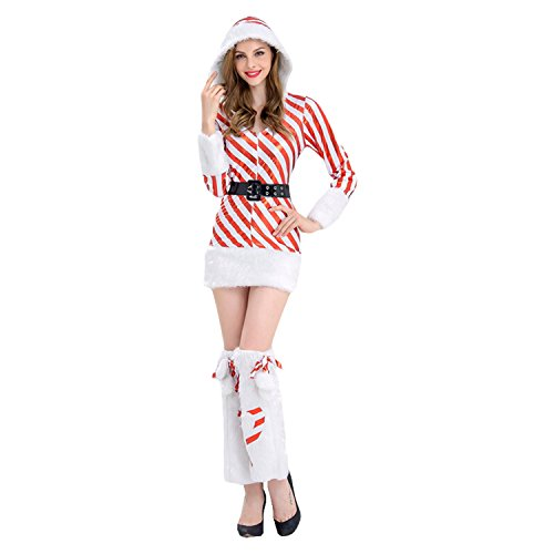 Boomtrader Women's Candy Cane Hooded Dress Furry Santa Costume Women Christmas Costume Candy Canes Costume -