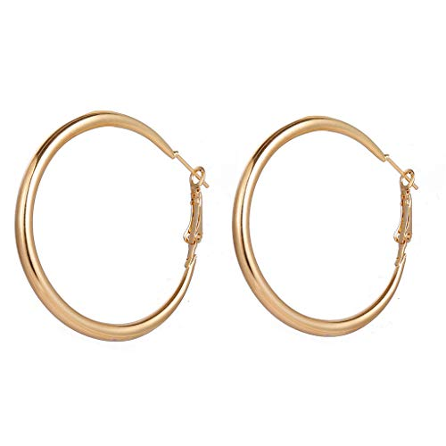Haluoo_Jewelry Minimalist Hoop Earrings,Haluoo Fashion Gold Plated Large Hoop Earrings Punk Thick Tube Gold Earrings Stylish Simple Wide Band Hoop Earrings for Women Girls 50Mm - Threader Earrings Tube Jewelry