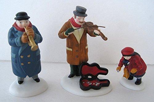 Porcelain Village Set - Department 56 Heritage Village Collection ; Street Musicians Set of 3 ; Handpainted Porcelain Accessories #5564-6