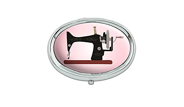 Máquina de coser Vintage fondo rosa Metal Oval píldora caso caja ...