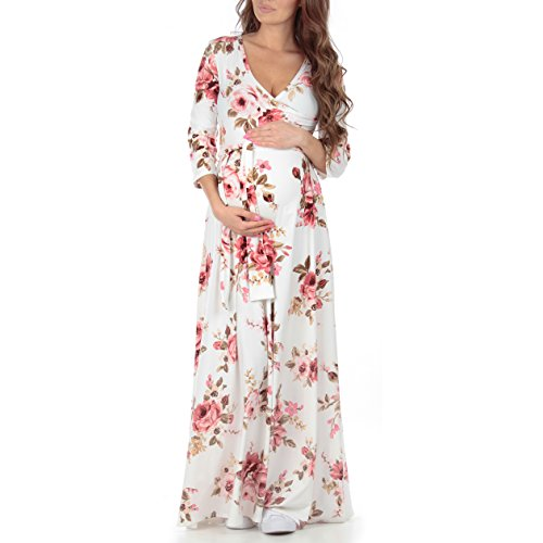 Mother Bee Women's Faux Wrap Maternity Dress With Adjustable Belt (Medium, Floral - Maternity Fashion Kate Middleton