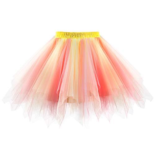 (Women's 1950s Vintage Petticoats Short Tulle Prom Dress Up Tutu Petticoat Crinolines Ballet Bubble Skirt Multicolored)