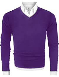 Men's V Neck Fleece-Lined Pullover Cotton Sweater Casual Sweat Dress