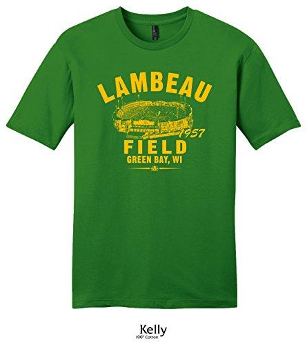 Throwbackmax 1957 Lambeau Field Green Bay Football Tee Shirt (3X, Kelly) ()
