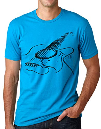 Think Out Loud Apparel Acoustic Guitar Shirt Cool Musician Tee Turquoise XL