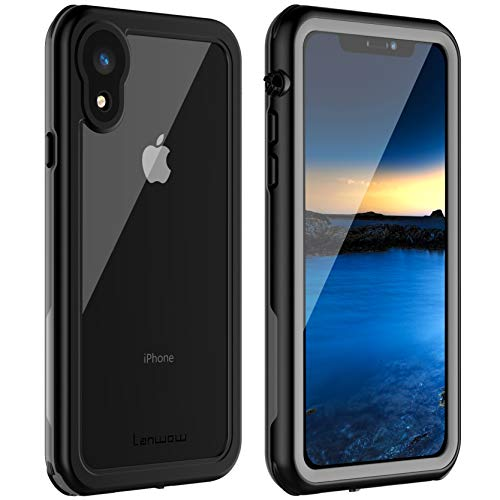 iPhone XR Waterproof Case, Lanwow Waterproof iPhone XR Shockproof Full-Body Rugged Cover Case with Built-in Screen Protector Support Wireless Charging for iPhone XR 6.1 Inch -Black/Grey