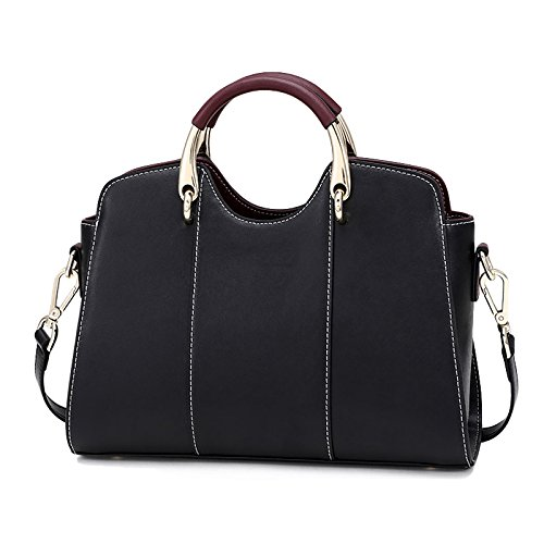 Handbag Crossbody Bags Bag Leather Fashion White Black Shoulder Black Women's Real YwX1Tqx6