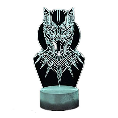 RGB 3D Super Hero Black Panther Stereo Vision Bedroom Night Light Creative LED Home Decoration Desk Lamp USB Touch/Remote Control 16 Color Creative Model Toy Christmas Gift (Super Hero Black Panther)