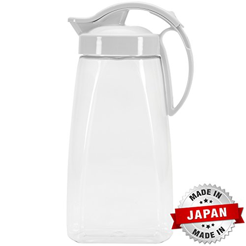 QuickPour Airtight Pitcher with Locking Spout Japanese Made - For Water, Coffee, Tea, Other Beverages - 2.3 Quarts...