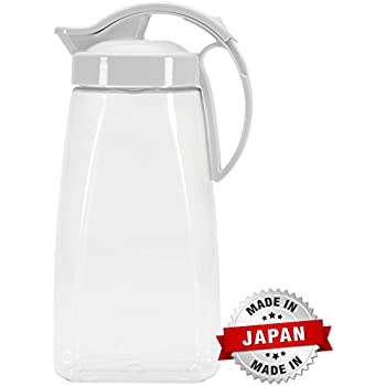 QuickPour Airtight Pitcher with Locking Spout Japanese Made - For Water, Coffee, Tea, & Other Beverages - 2.3 Quarts - Clear with White Top