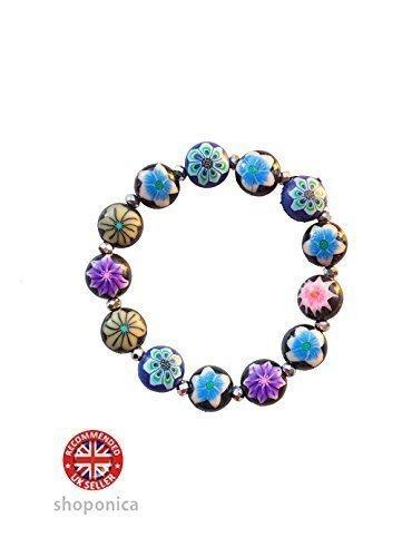 Fimo Round Flower Bead Elastic Stretch Bracelet by Shoponica