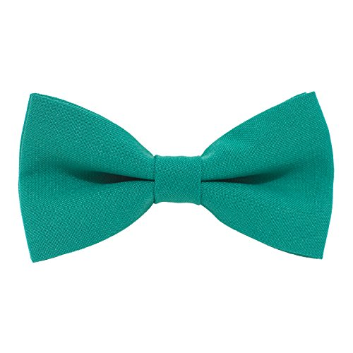 Spectrum Teal Green - Classic Pre-Tied Bow Tie Formal Solid Tuxedo, by Bow Tie House (Small, Green Teal)