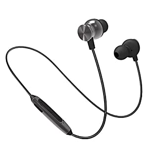 PTron Intunes Pro Headphone Magnetic Earphone Wireless Bluetooth Headset with Mic for All Smartphones (Gray) 3