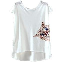 YICHUN Women Girls Thin T-Shirt Tops Tees Cami Casual Wear Blouse Tunic Printed (M, Cat 10#)